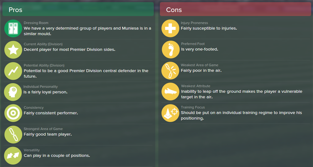 Marc Muniesa, FM15, FM 2015, Football Manager 2015, Scout Report, Pros & Cons