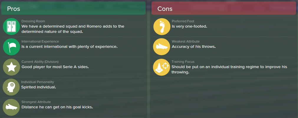 Sergio Romero, FM15, FM 2015, Football Manager 2015, Scout Report, Pros & Cons