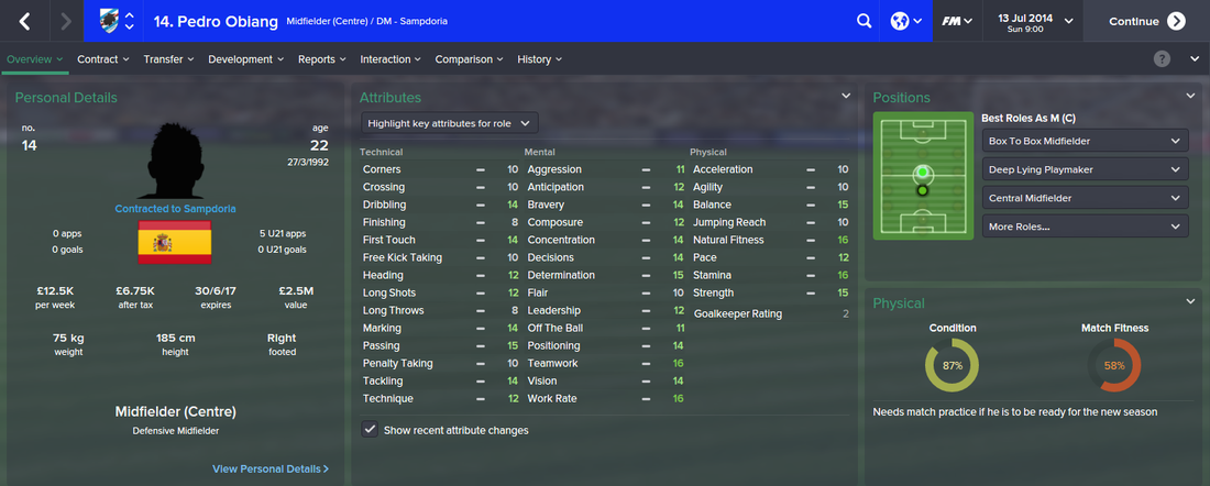 Pedro Obiang, FM15, FM 2015, Football Manager 2015, 1st Season Screenshot