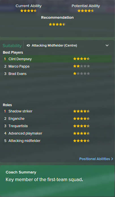 Clint Dempsey, FM15, FM 2015, Football Manager 2015, Scout Report, Current & Potential Ability