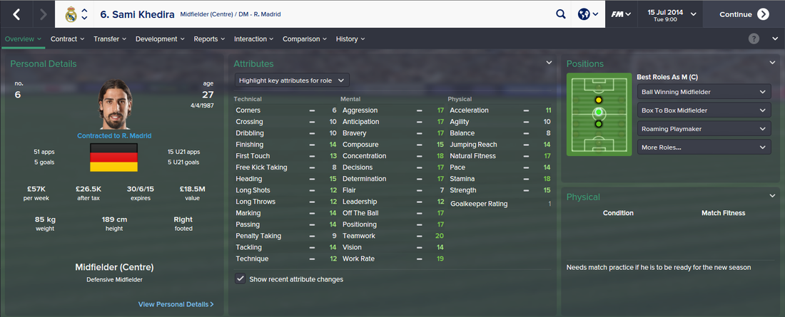 Sami Khedira, FM15, FM 2015, Football Manager 2015, 1st Season Screenshot