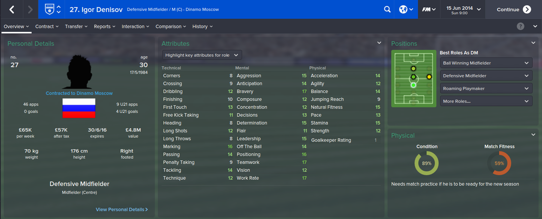 Igor Denisov, Football Manager 2015, FM15, FM 2015, 1st Season Screenshot