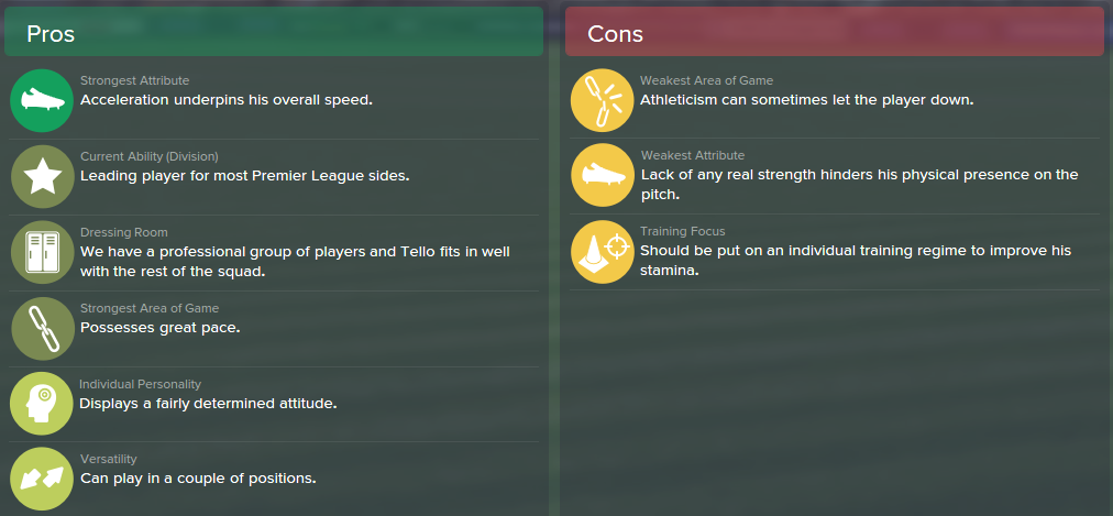 Cristian Tello, FM15, FM 2015, Football Manager 2015, Scout Report, Pros & Cons