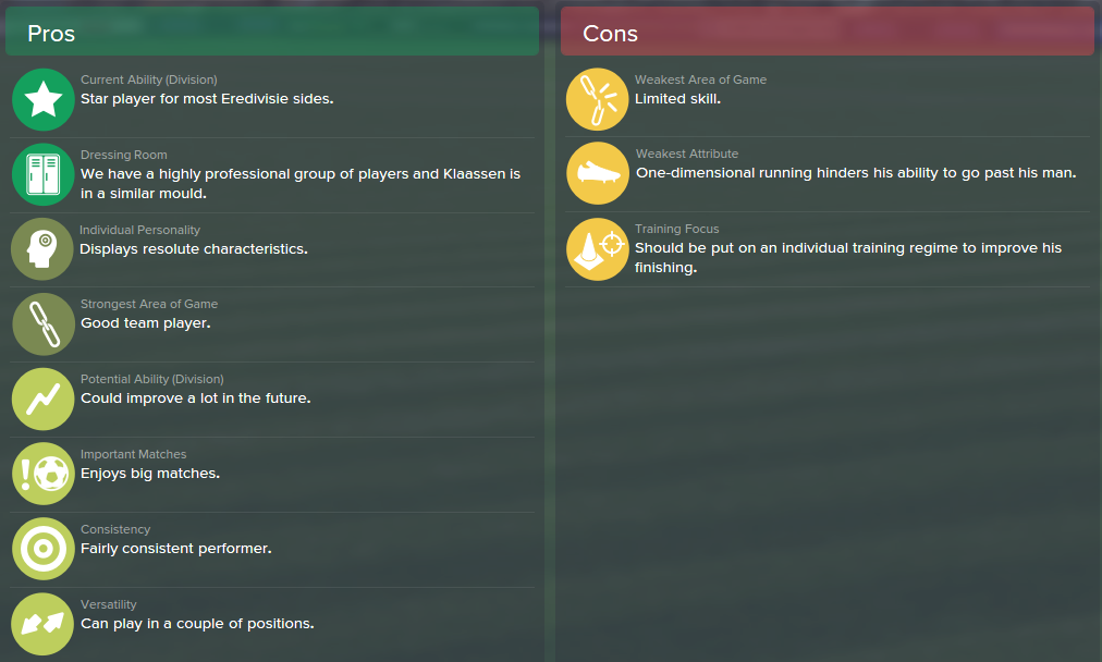 Davy Klaassen, FM15, FM 2015, Football Manager 2015, Scout Report, Pros & Cons
