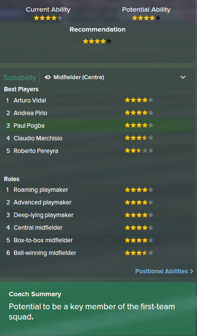 Paul Pogba, FM15, FM 2015, Football Manager 2015, Scout Report, Current & Potential Ability