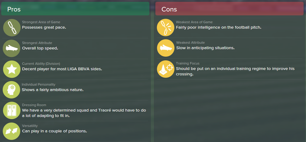 Adama Traore, FM15, FM 2015, Football Manager 2015, Scout Report, Pros & Cons