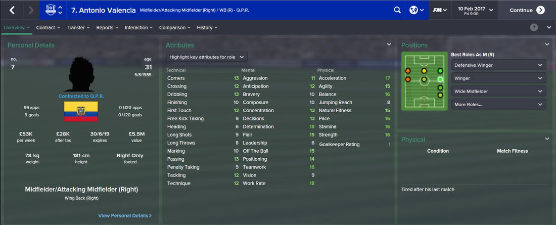 Antonio Valencia, Football Manager 2015, FM15, FM 2015, 3rd Season Screenshot