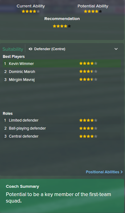Kevin Wimmer, FM15, FM 2015, Football Manager 2015, Scout Report, Current & Potential Ability