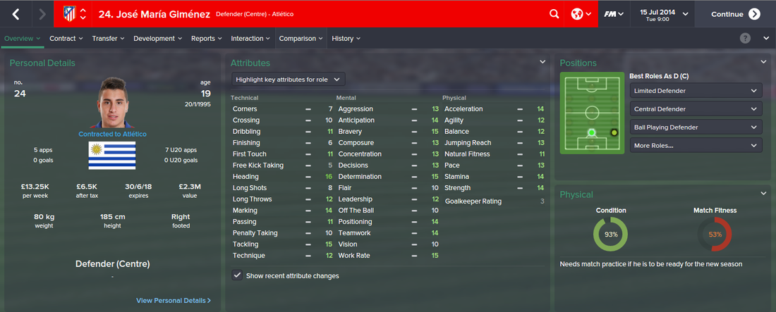 Jose Maria Gimenez, FM15, FM 2015, Football Manager 2015, 1st Season Screenshot