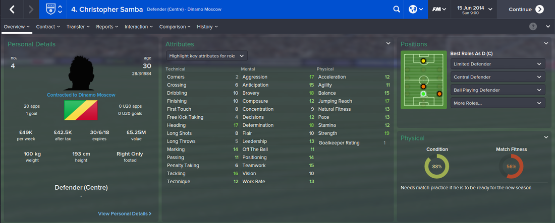 Christopher Samba, Football Manager 2015, FM15, FM 2015, 1st Season Screenshot
