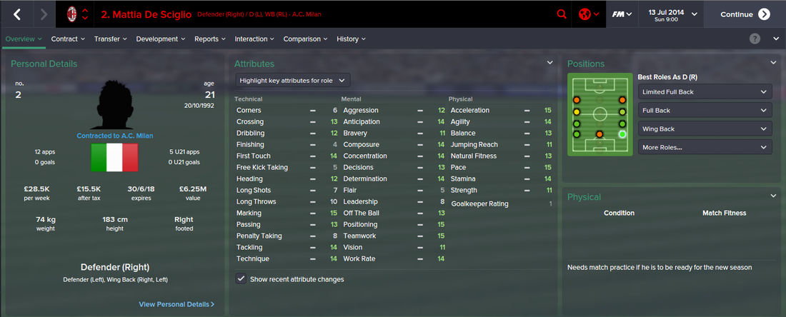 Mattia De Sciglio, FM15, FM 2015, Football Manager 2015, 1st Season Screenshot