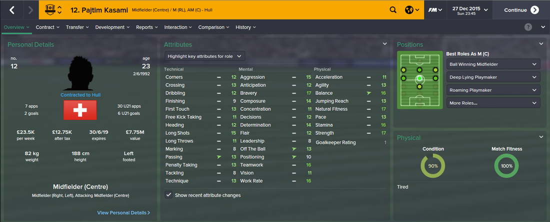 Pajtim Kasami, Football Manager 2015, FM15, FM 2015, 2nd Season Screenshot