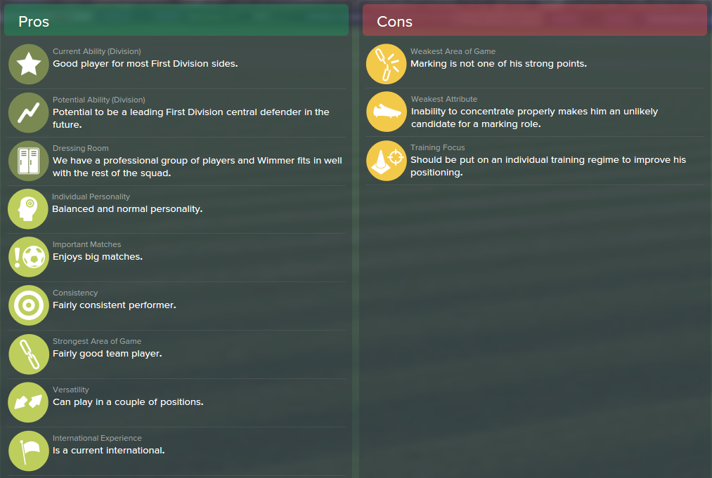 Kevin Wimmer, FM15, FM 2015, Football Manager 2015, Scout Report, Pros & Cons