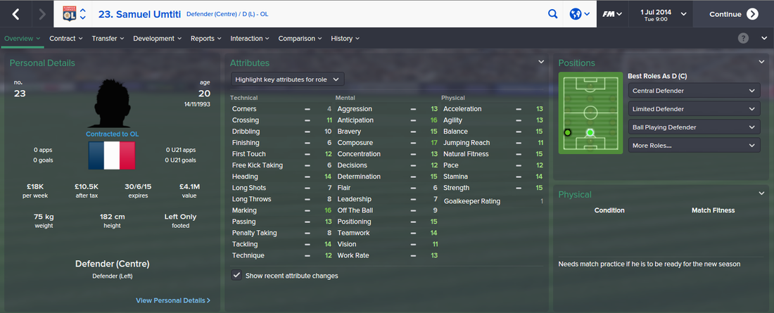 Samuel Umtiti, FM15, FM 2015, Football Manager 2015, 1st Season Screenshot