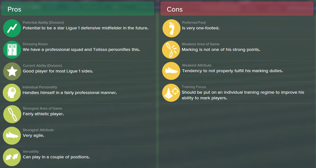 Corentin Tolisso, FM15, FM 2015, Football Manager 2015, Scout Report, Pros & Cons