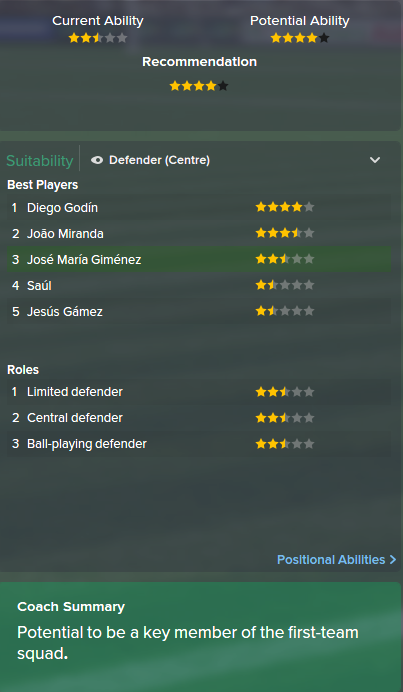 Jose Maria Gimenez, FM15, FM 2015, Football Manager 2015, Scout Report, Current & Potential Ability