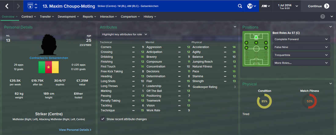 Maxim Choupo-Moting, FM15, FM 2015, Football Manager 2015, 1st Season Screenshot