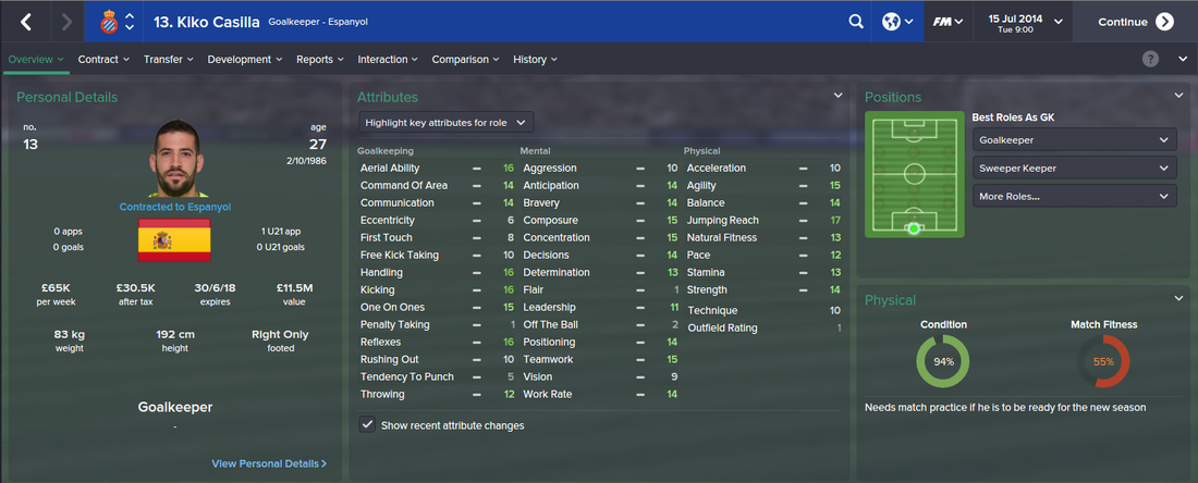 Kiko Casilla, FM15, FM 2015, Football Manager 2015, 1st Season Screenshot