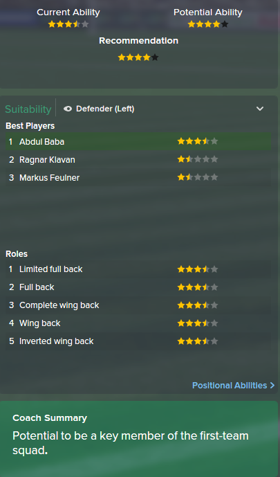 Abdul Baba, FM15, FM 2015, Football Manager 2015, Scout Report, Current & Potential Ability