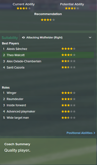 Theo Walcott, FM15, FM 2015, Football Manager 2015, Scout Report, Current & Potential Ability