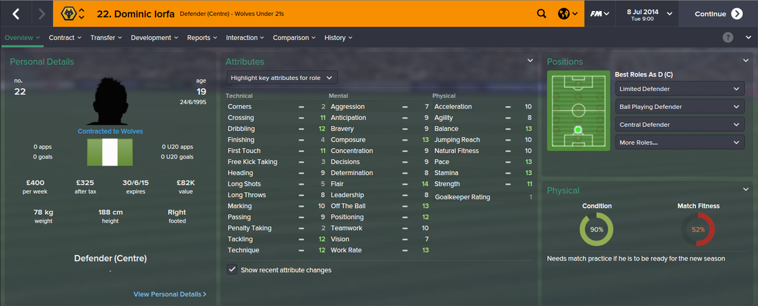 Dominic Iorfa, FM15, FM 2015, Football Manager 2015, 1st Season Screenshot
