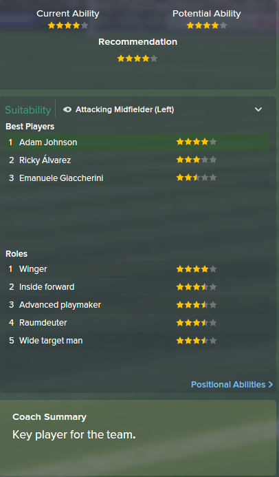 Adam Johnson, FM15, FM 2015, Football Manager 2015, Scout Report, Current & Potential Ability