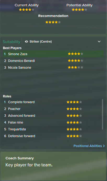 Simone Zaza, FM15, FM 2015, Football Manager 2015, Scout Report, Current & Potential Ability