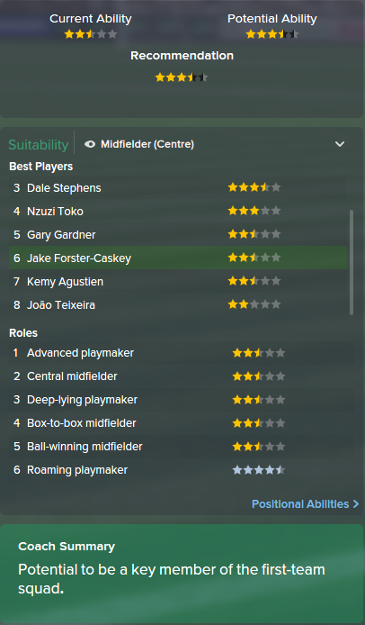 Jake Forster-Caskey, FM15, FM 2015, Football Manager 2015, Scout Report, Current & Potential Ability