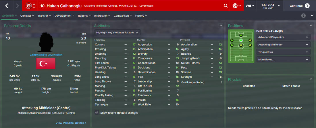 Hakan Calhanoglu, FM15, FM 2015, Football Manager 2015, 1st Season Screenshot