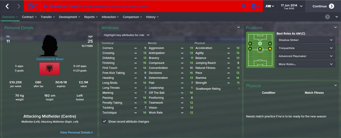 Shkelzen Gashi, FM15, FM 2015, Football Manager 2015, 1st Season Screenshot