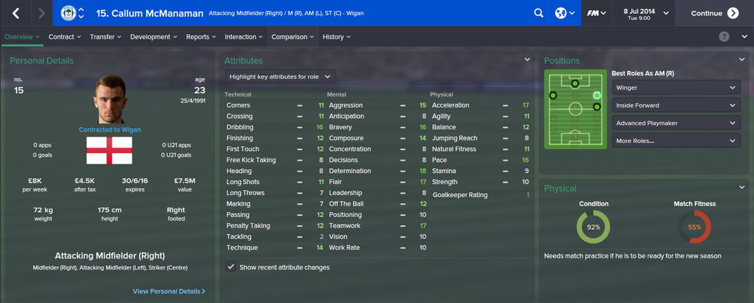Callum McManaman, FM15, FM 2015, Football Manager 2015, 1st Season Screenshot