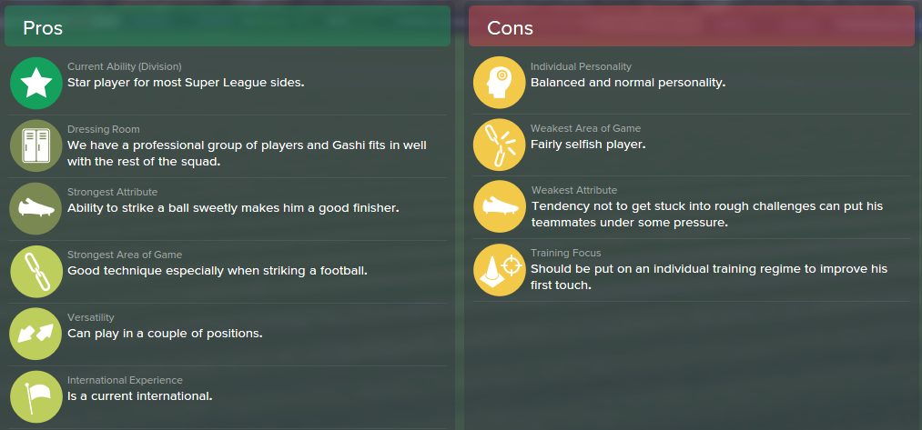 Shkelzen Gashi, FM15, FM 2015, Football Manager 2015, Scout Report, Pros & Cons