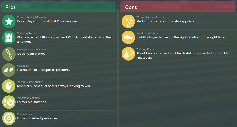 Joshua Kimmich, FM15, FM 2015, Football Manager 2015, Scout Report, Pros & Cons