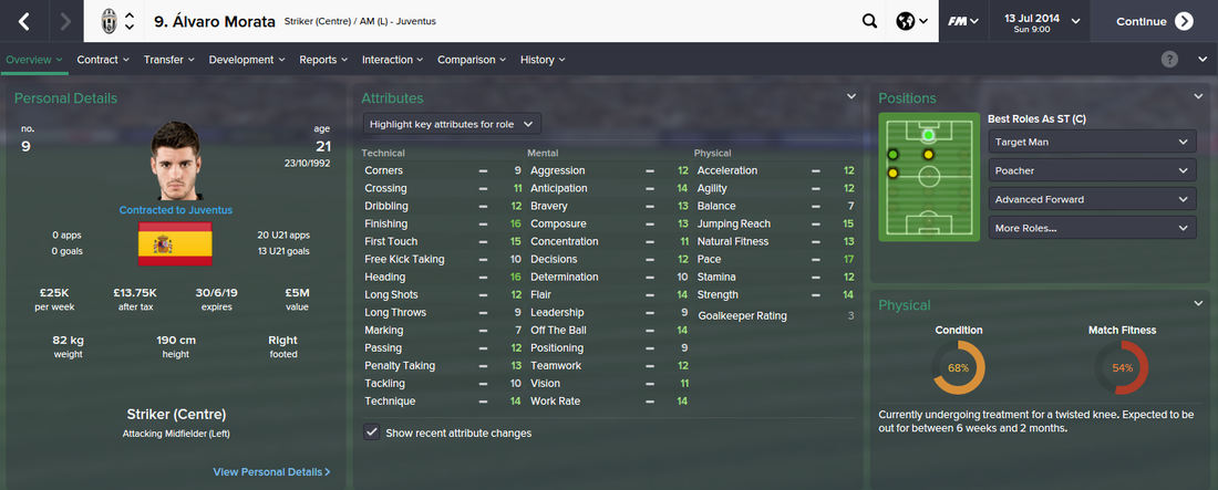 Alvaro Morata, FM15, FM 2015, Football Manager 2015, 1st Season Screenshot