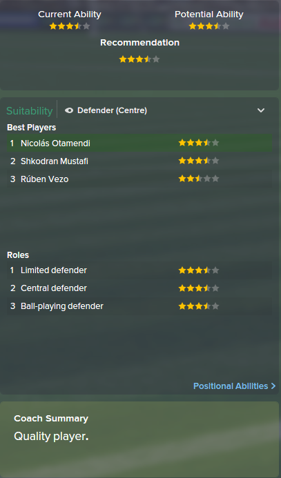 Nicolas Otamendi, FM15, FM 2015, Football Manager 2015, Scout Report, Current & Potential Ability