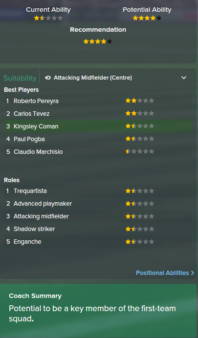 Kingsley Coman, FM15, FM 2015, Football Manager 2015, Scout Report, Current & Potential Ability