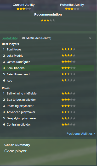 Sami Khedira, FM15, FM 2015, Football Manager 2015, Scout Report, Current & Potential Ability