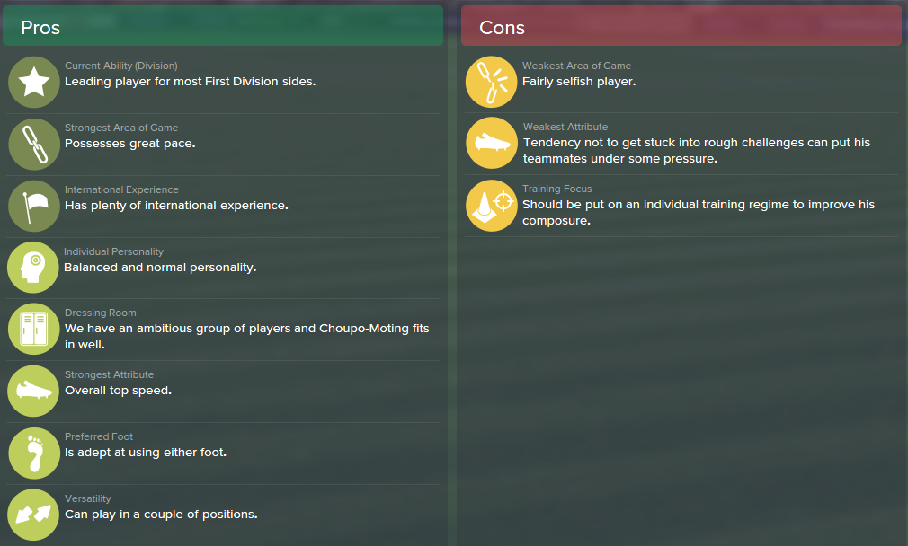 Maxim Choupo-Moting, FM15, FM 2015, Football Manager 2015, Scout Report, Pros & Cons