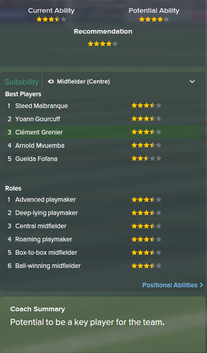 Clement Grenier, FM15, FM 2015, Football Manager 2015, Scout Report, Current & Potential Ability