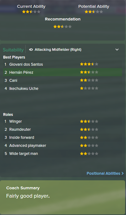 Hernan Perez, FM15, FM 2015, Football Manager 2015, Scout Report, Current & Potential Ability