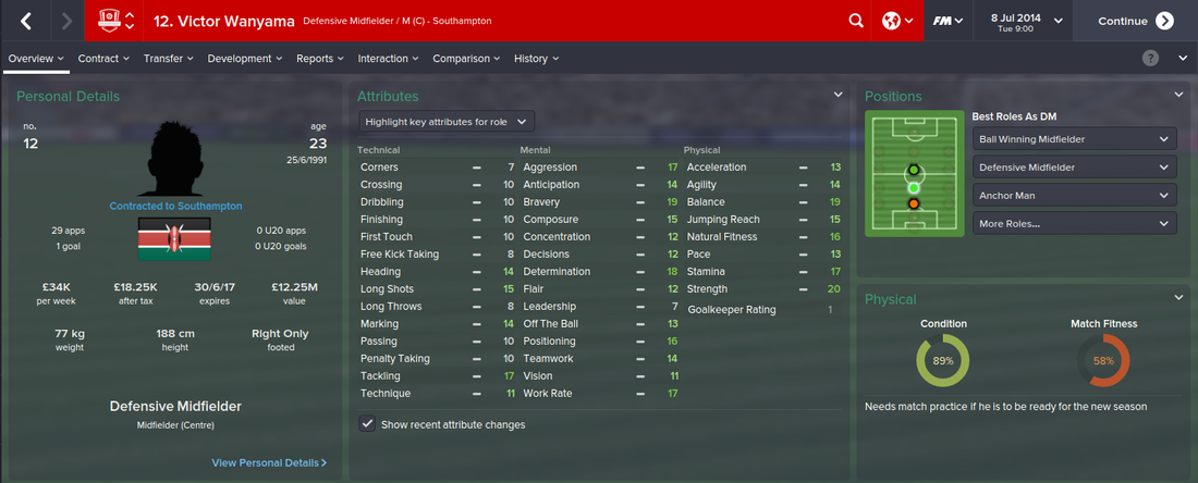 Victor Wanyama, FM15, FM 2015, Football Manager 2015, 1st Season Screenshot