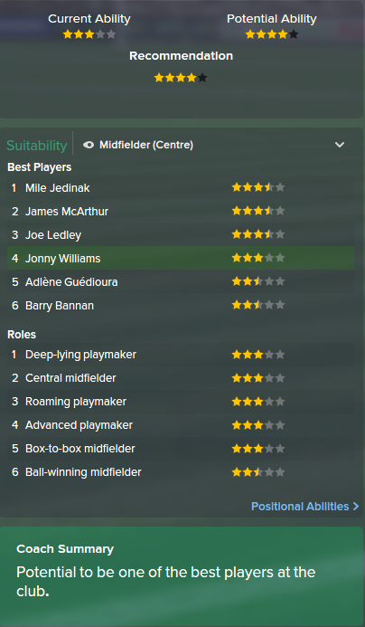 Jonny Williams, FM15, FM 2015, Football Manager 2015, Scout Report, Current & Potential Ability