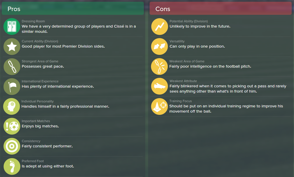Papiss Cisse, FM15, FM 2015, Football Manager 2015, Scout Report, Pros & Cons