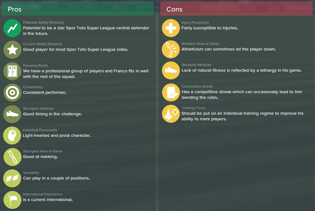 Pedro Franco, FM15, FM 2015, Football Manager 2015, Scout Report, Pros & Cons