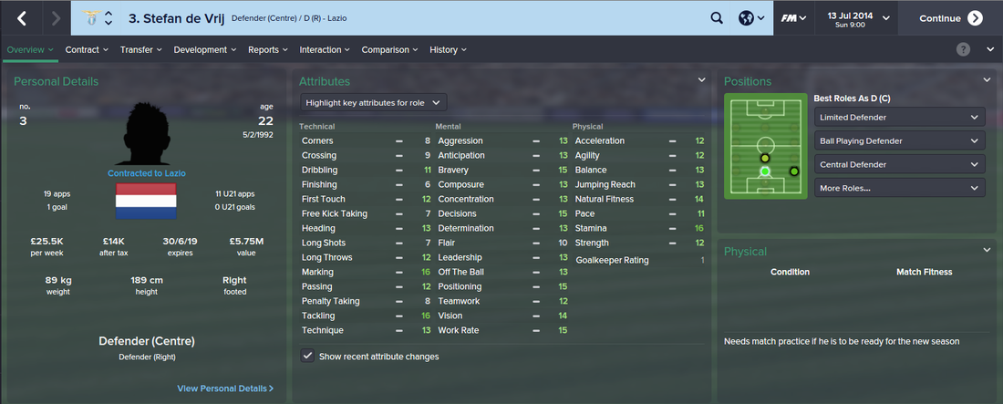 Stefan de Vrij, FM15, FM 2015, Football Manager 2015, 1st Season Screenshot
