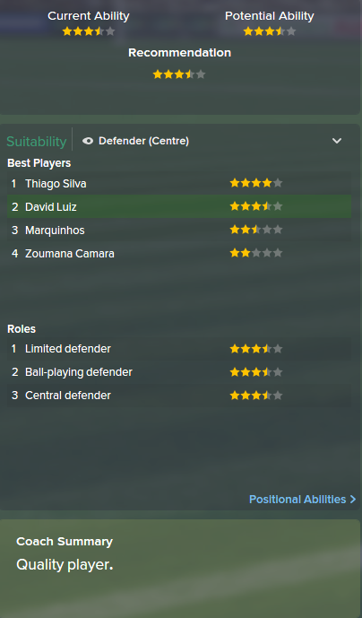 David Luiz, FM15, FM 2015, Football Manager 2015, Scout Report, Current & Potential Ability