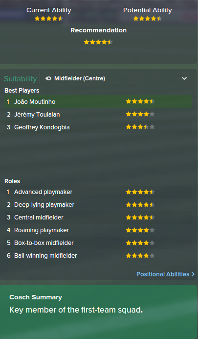 Joao Moutinho, FM15, FM 2015, Football Manager 2015, Scout Report, Current & Potential Ability