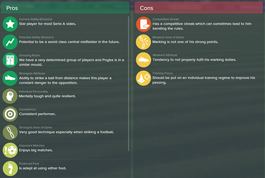 Paul Pogba, FM15, FM 2015, Football Manager 2015, Scout Report, Pros & Cons