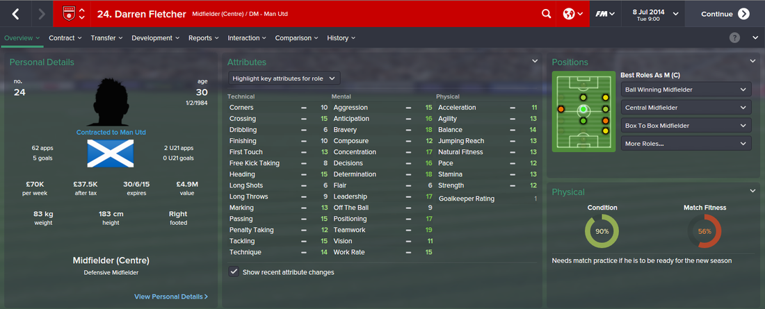 Darren Fletcher, FM15, FM 2015, Football Manager 2015, 1st Season Screenshot