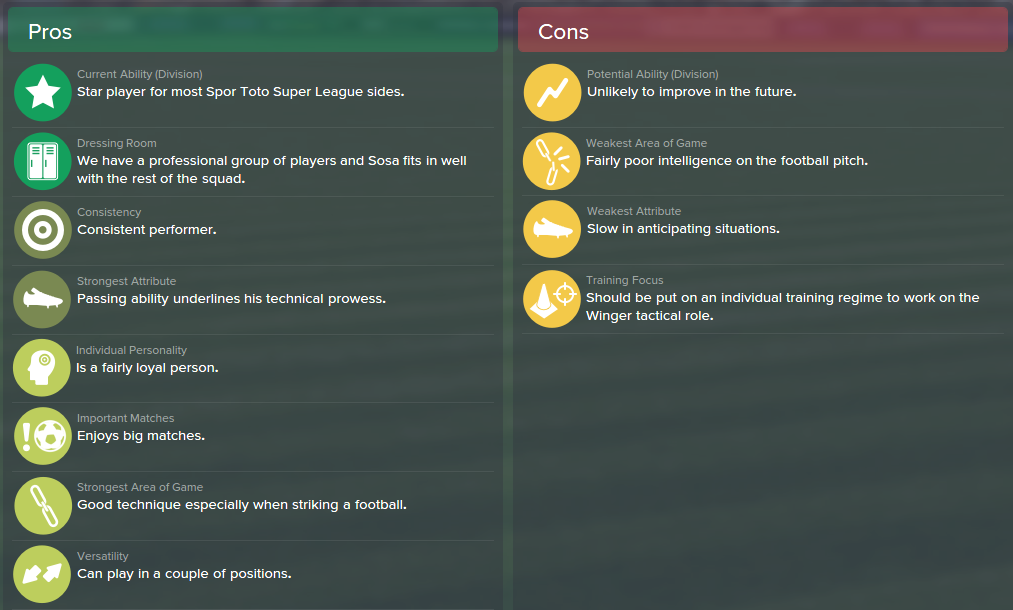 Jose Sosa, FM15, FM 2015, Football Manager 2015, Scout Report, Pros & Cons
